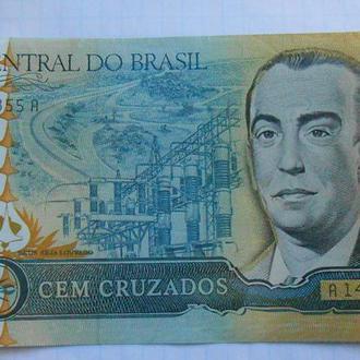 Бразилия 100 крузейро 1986 год.