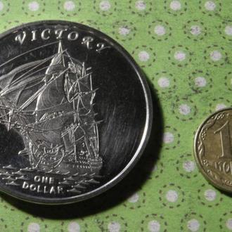 Гилберта острова 2014 год монета 1 доллар парусник герб корабль Кирибати !