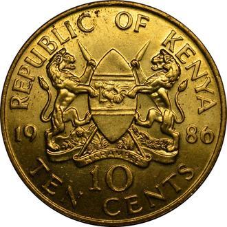 Кенія 10 центів 1986   #431