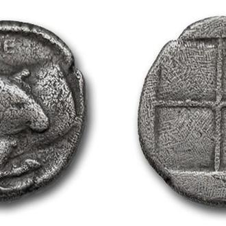 (А)2718 - МАКЕДОНИЯ. Аканф (424—380 до н.э.) АR Тетробол