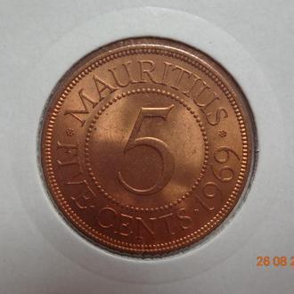 Британский Маврикий 5 центов 1969 Elizabeth II СУПЕР состояние очень редкая