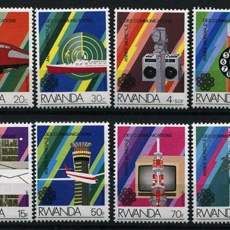Руанда 1984 Транспорт ЖД Корабли Авиация Космос Связь Телекоммуникации серия 8-50 евро MNH **