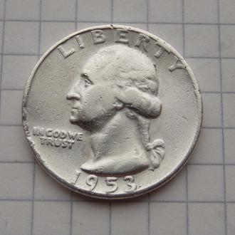 25 центов (Квотер) 1953 США. Серебро, подлинник.