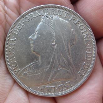 Великобритания 1 крона 1895 Виктория серебро Нечастая!