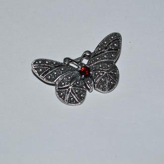 шикарная брошь капельное серебро бабочка серебро 925 проба девушка вес 6,48 грамм винтаж