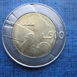 Монета 500 лир Сан Марино 1990 фауна птиці филателия марка почта состояние
