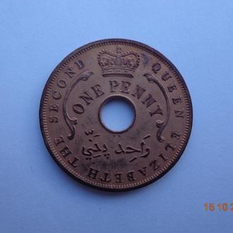 Британская Западная Африка 1 пенни 1956KN Elizabeth II отличное состояние очень редкая