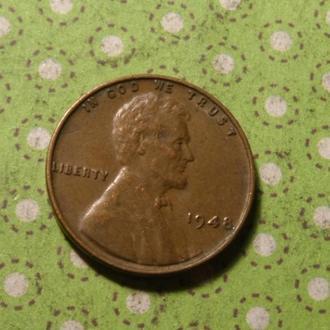США 1948 год монета 1 цент Америка !