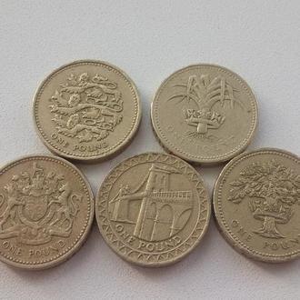 5 монет по 1 фунту, все разные.