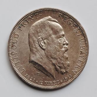 Бавария 5  марок 1911 г., XF-UNC, '90 лет со дня рождения Луитпольда Баварского'