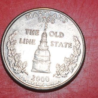 25 центов 2000 г США Мэрилэнд
