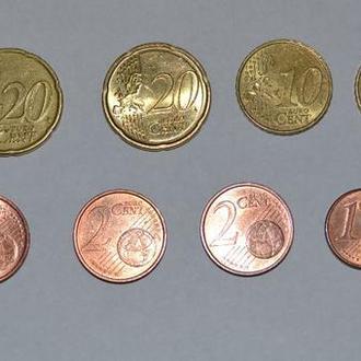 Набор Монет Европа 12 монет 1,33 Евро (Евроцент)
