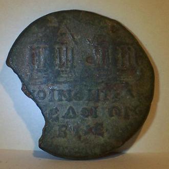 Античная монета с архитектурой, Македония, Греция, 1 век до н.э.