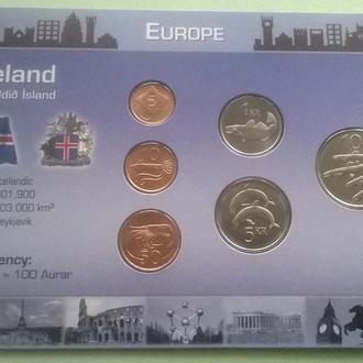 Набор монет ИСЛАНДИЯ пластик картон набір ІСЛАНДІЯ блистер запайка