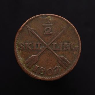 1/2 Скиллинга 1807,(7) Швеция