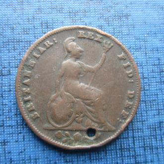 Монета фартинг 1/4 пенни Великобритания 1835