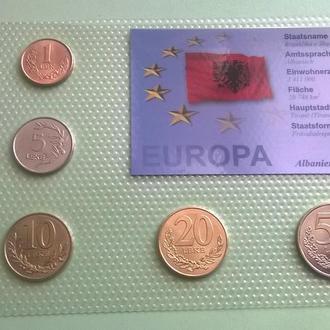 Набор монет АЛБАНИЯ пластик набір АЛБАНІЯ блистер запайка