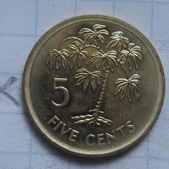 СЕЙШЕЛЬСКИЕ ОСТРОВА. 5 центов 2007 года (ПАЛЬМА; состояние).