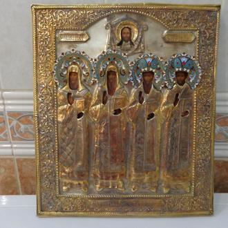 икона Московские Патриархи серебро 88пр.эмали