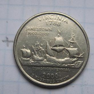"""США, 25 центов 2000 г. (ШТАТ ВИРДЖИНИЯ """"Д"""")."""