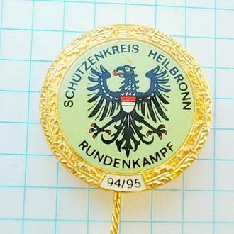 №167 Значок золотой орел победителю соревнований стрелков HEILBRONN Германия 94 / 95 на иголке