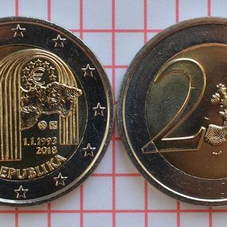 Словакия 2 евро, 2018 25 лет Словакии