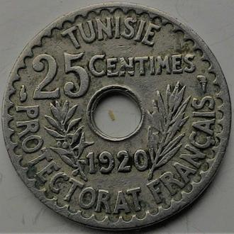 Тунис 25 центов 1920 год СОСТОЯНИЕ!!