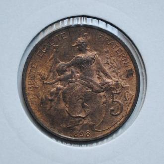 Франция 5 сантим 1898 г., UNC