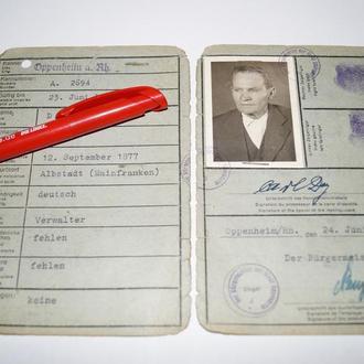 1947 ФРГ Удостоверение Личности Паспорт Германия 08