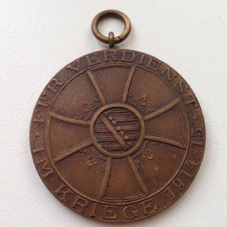 Медаль за заслуги во время войны 1915 год Саксен-Мейнинген.Редкая.38 мм.