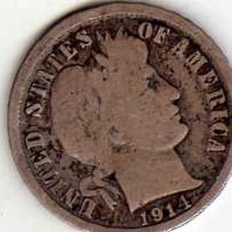 США 10 центов 1914г D