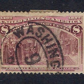 1893 год. 8-cents США  Columbian Exposition.