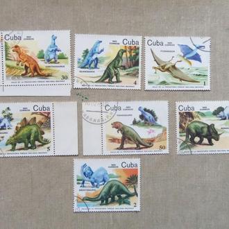 марки- с 1 гр Куба--(А3) - гашеные 1985 год-динозавры