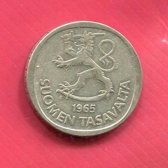 Финляндия 1 марка 1965 серебро