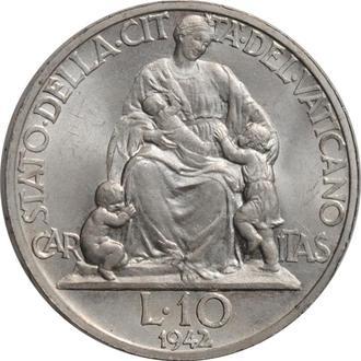 """Ватикан 10 лир 1942 г., BU, """"Папа Пий XII (1939 - 1958)"""""""