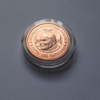 5 центов 2002 г. Ватикан. Иоанн Павел II  Европроба. Капсула. Пруф.