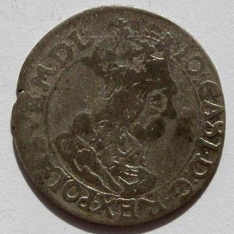 6 грошей AT Ян Казимир 1662г , г.Краков R