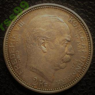ДАНИЯ 2 КРОНЫ 1912 СЕРЕБРО РЕДКАЯ! тираж 102 000