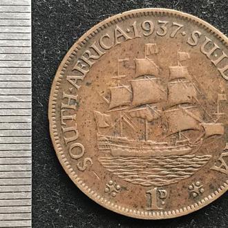 Южная Африка 1 пенни 1937 корабль парусник ЮАР Георг IV