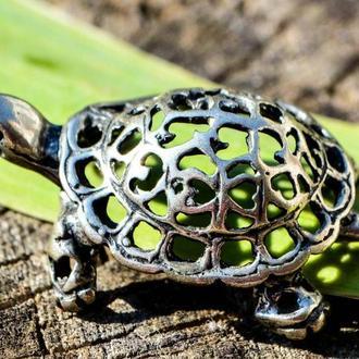 Коллекционная скульптура,Черепаха! Миниатюра! Серебро!
