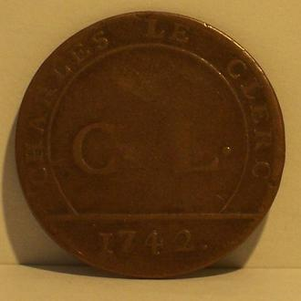 Денежный жетон книготорговца, Франция, 1742 г.