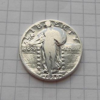 25 центов (квотер) 1929 года, США. Серебро, подлинник.