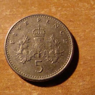 Великобритания 5 пенсов пенни 1991