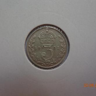 Великобритания 3 пенса 1921 George V серебро состояние редкая