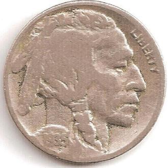 Монета 5 центов (США) 1935 Бизон (Индеец) (2)