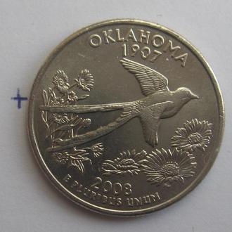 """США. 25 центов 2008 г. (ШТАТ ОКЛАХОМА """"P"""")."""