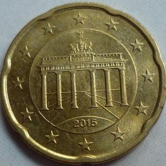ФРГ 20 евроцентов 2015 F состояние