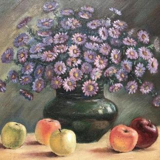 картина цветы квіти фанера масло (№914)