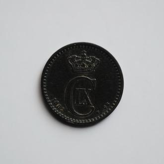 Дания 1 эре 1882 г. CS, 'Король Кристиан IX (1873-1906)'