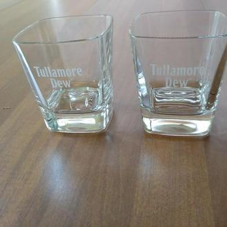 2шт. - брендовый бокал для виски TULLAMORE DEW Irish Whiskey Heavy Square Glasses